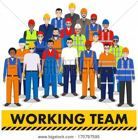 Group of working people isolated on white background. Set of diverse worker, builder and engineer standing together. Different nationalities and dress styles. Cute and simple in flat style.