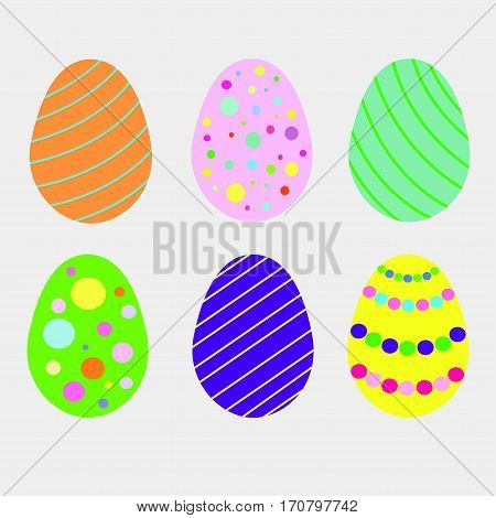 Easter eggs vector icons. Isolated flat style on white background. For your design and buisness.