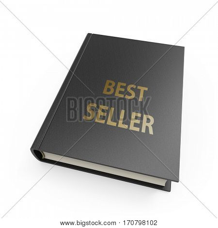 Best seller book with black cover and gold text isolated on white background. 3D rendering.