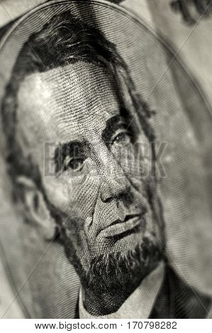 Closeup of Five dollar bill $5