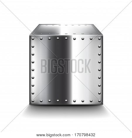 Steel box isolated on white photo-realistic vector illustration