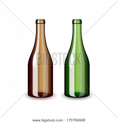 Two empty wine bottles isolated on white photo-realistic vector illustration