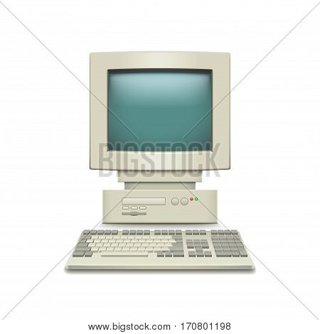Vintage computer isolated on white photo-realistic vector illustration