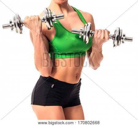 fitness woman with barbells on white background, isolated