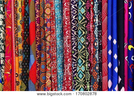 Textiles for sale in a market of Kuala Lumpur, Malaysia, Asia
