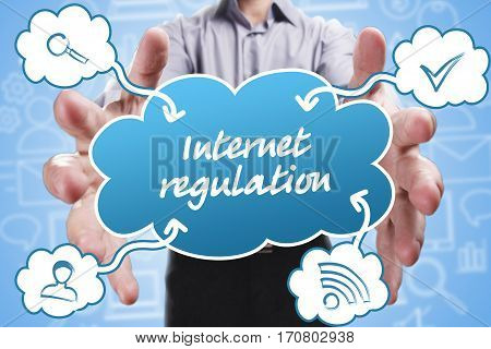 Business, Technology, Internet And Marketing. Young Businessman Thinking About: Internet Regulation