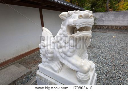 Statue of Guardian lion-dog in Kamakura, Japan