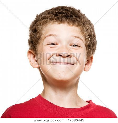 little caucasian boy portrait grimace smile isolated studio on white background