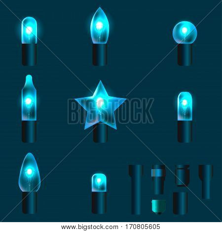 Set of azure shining garland lights with holders isolated on background. Christmas, New Year party decoration realistic design elements. Glowing lights for Xmas. Holiday greeting design.