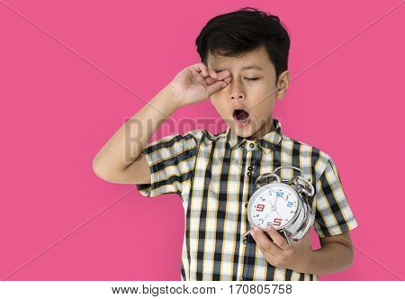 Little Boy Wake Up Holding Clock
