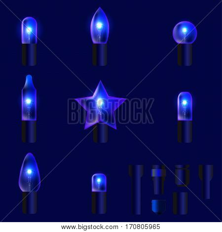 Set of blue shining garland lights with holders isolated on background. Christmas, New Year party decoration realistic design elements. Glowing lights for Xmas. Holiday greeting design.