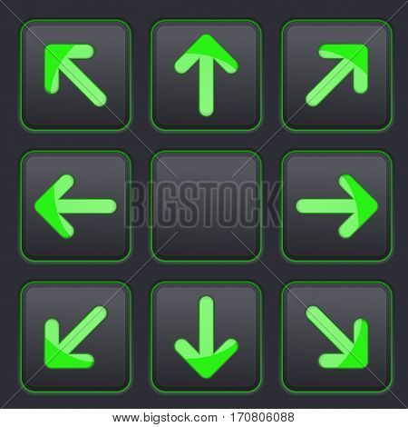 Arrows key pad. Green icons on black buttons. Vector 3d illustration