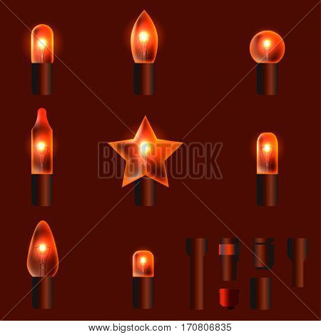 Set of orange shining garland lights with holders isolated on background. Christmas, New Year party decoration realistic design elements. Glowing lights for Xmas. Holiday greeting design.
