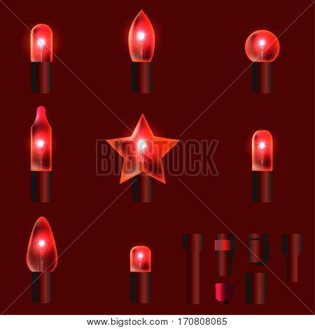 Set of red shining garland lights with holders isolated on background. Christmas, New Year party decoration realistic design elements. Glowing lights for Xmas. Holiday greeting design.