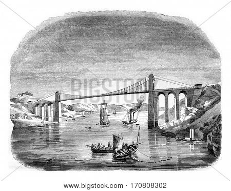 Suspension Bridge of La Roche-Bernard, vintage engraved illustration. Magasin Pittoresque 1842.