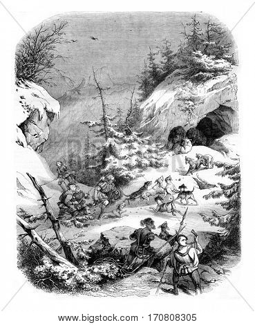 Hunting a bear, in feudal times, vintage engraved illustration. Magasin Pittoresque 1844.