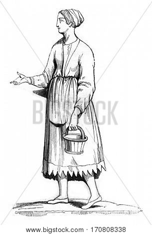 Gallic woman, vintage engraved illustration. Magasin Pittoresque 1842.