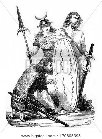Gallic soldiers, before the Roman domination, vintage engraved illustration. Magasin Pittoresque 1842.