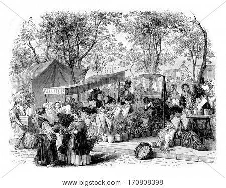 The flower market, vintage engraved illustration. Magasin Pittoresque 1842.