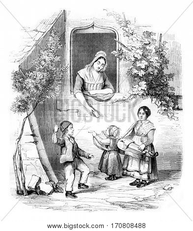 1842 Exhibition of Painting, Small Piemontais by Elisa miss Blondet, vintage engraved illustration. Magasin Pittoresque 1842.