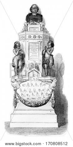 The monument of Abbe Epee in one of the chapels of Saint-Roch in Paris, vintage engraved illustration. Magasin Pittoresque 1842.