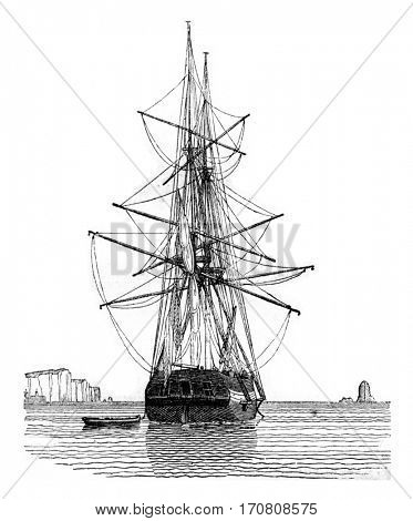 Brig pantenne, in mourning, wet, seen by the back, vintage engraved illustration. Magasin Pittoresque 1842.