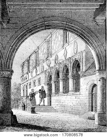 View of part of the manor of Ango, Varengeville has, near Dieppe, vintage engraved illustration. Magasin Pittoresque 1842.