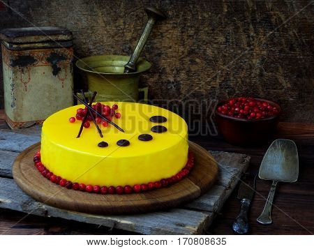 Cake Covered With A Mirror Coating, Decorated With Cranberries And Chocolate Decor. Modern Russian H