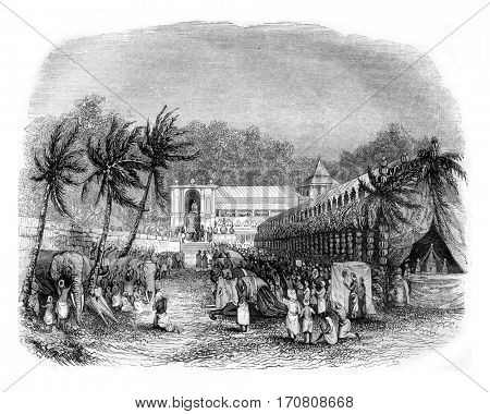 Procession of the Buddha's tooth, On the island of Ceylon, vintage engraved illustration. Magasin Pittoresque 1842.