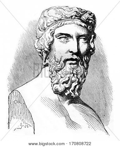 Plato, vintage engraved illustration. Magasin Pittoresque 1842.