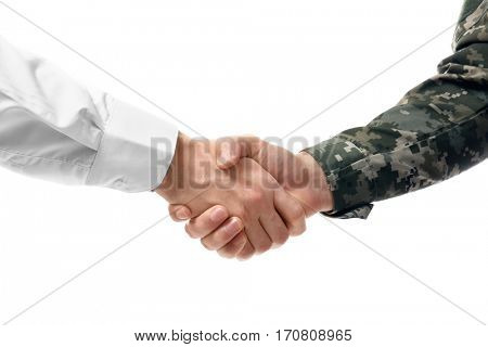 Soldier and civilian shaking hands on white background, closeup