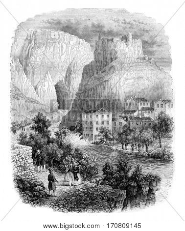 The fountain of Vaucluse, vintage engraved illustration. Magasin Pittoresque 1842.