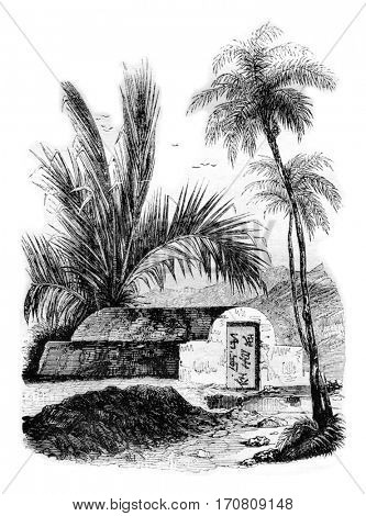 Chinese tomb at Ambon, Maluku Islands, vintage engraved illustration. Magasin Pittoresque 1842.