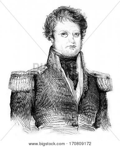 Admiral Dumont d'Urville, vintage engraved illustration. Magasin Pittoresque 1842.