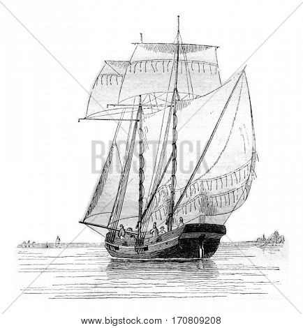 Koff current broad reach, seen by hip portside, vintage engraved illustration. Magasin Pittoresque 1842.