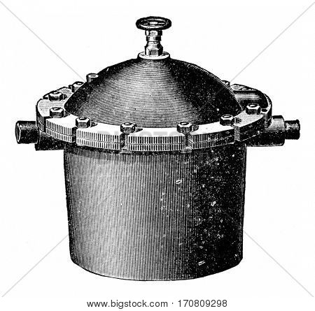 Automatic drain, vintage engraved illustration.
