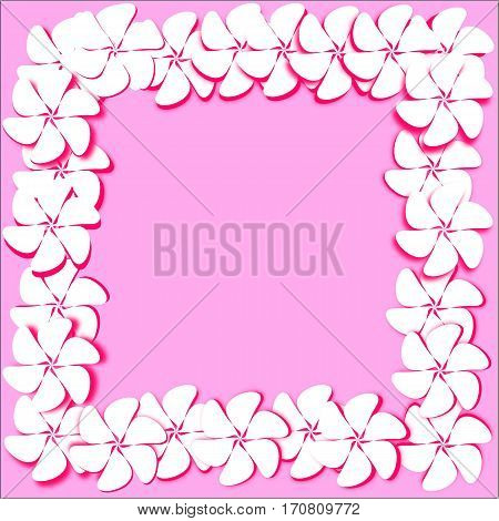 Postcard abstract pink background white flowers with bright pink stroke and shadow are placed along the perimeter of the whole figure