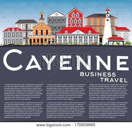 Cayenne Skyline with Color Buildings, Blue Sky and Copy Space. Business Travel and Tourism Concept with Modern Architecture. Image for Presentation Banner Placard and Web Site.
