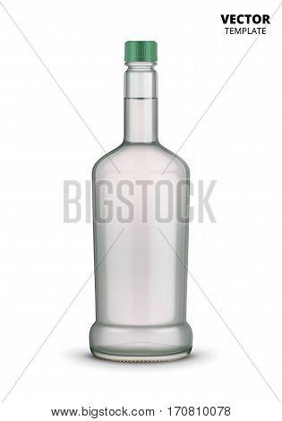 Vodka bottle glass mockup vector isolated on white background. Bottle for design presentation ads. Russian vodka glass bottle template. Design of vector vodka bottle. Original form bottle for design vodka packaging or label.