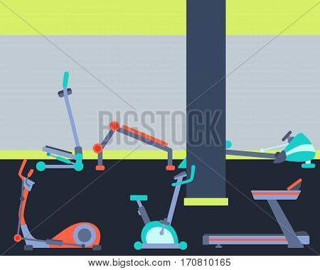 Gym interior with equipment. Flat design. Vector illustration