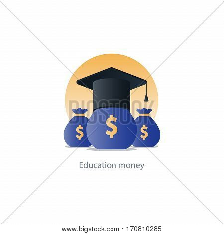 Education grant, tuition fee, money bags, financial education, budget fund, scholarship program, graduation hat vector illustration icon
