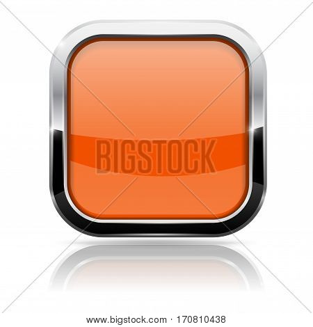 Orange glass button with chrome frame. Vector 3d illustration isolated on white background