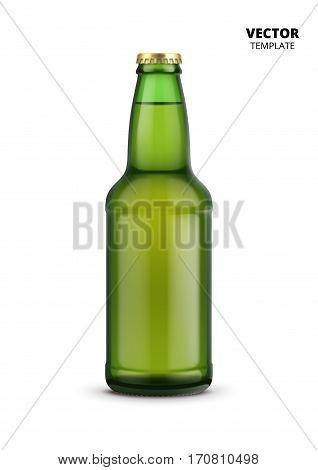 Beer bottle glass mockup vector isolated on white background. Glass bottle mockup for design presentation ads.