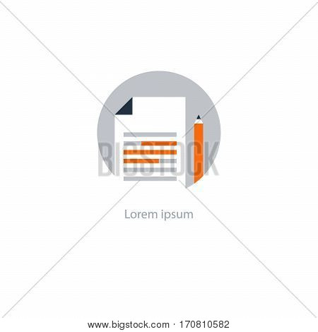 Summary concept icon, creative writing, short story telling, highlight information, essay research, school education logo, brief text review, check grammar quiz vector flat illustration
