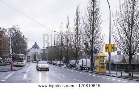 Grand Duchy of Luxembourg Luxembourg- January 032017:On the boulevard F.D.Roosevelt moving cars the bus is at the bus stop
