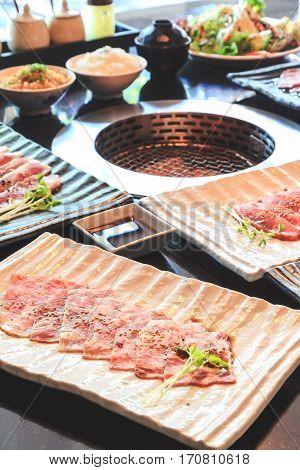 Beef slice for barbecue Japanese food Yakiniku