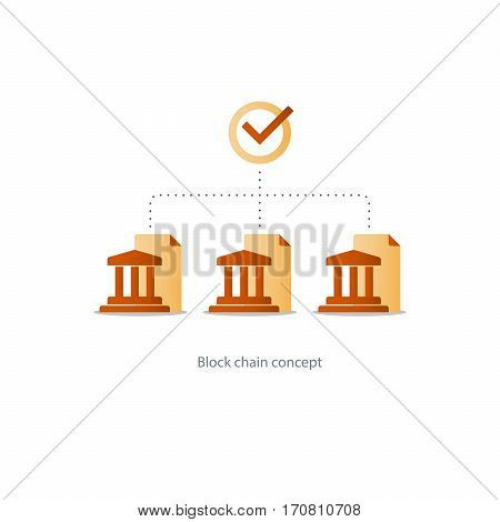 Banking system icon, block chain concept, financial network, data gathering vector illustration