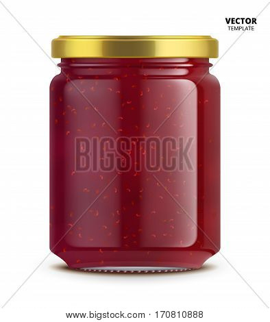 Raspberry jam jar glass mockup vector isolated on white background. Glass jar mockup for design presentation ads. Raspberry jam jar glass template for jam label design. Vector jam jar isolated.