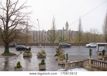 Grand Duchy of Luxembourg Luxembourg- January 032017:On the boulevard F.D.Roosevelt moving carthere are cars on parking