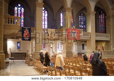 Grand Duchy of Luxembourg Luxembourg- January 032017: Notre-Dame Chatnedral. Parishioners at the cathedral